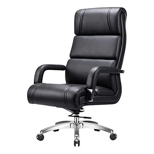 HJJK Ocio sillas de oficina silla del jefe Silla giratoria de ordenador silla ergonomica con respaldo alto funcion de la inclinacion ajustable en altura durable fuerte, Color: Negro