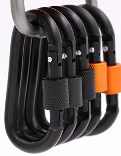 Orange Hook (LeBeila Carabiner Aluminum Screw Locking Spring Clip Hook Outdoor D Shaped Keychain Buckle for Camping, Hiking, Fishing (Black+Black/Orange))