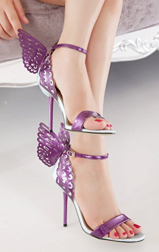 Aisun Womens Trendy Butterfly Open Toe Covered Heels Buckle Dressy Stiletto High Heels Sandals Shoes With Ankle Straps Purple Obqn5rsh0G