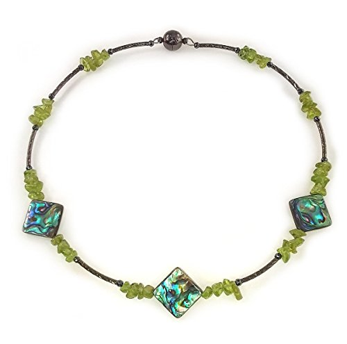 Peridot (August Birthstone) and Abalone Choker Necklace - SALE Now $35 w/FREE SHIPPING (was $40)