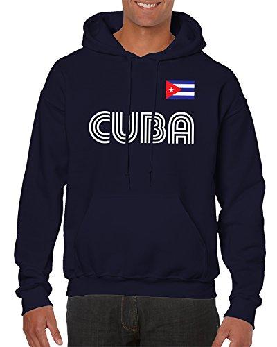 SpiritForged Apparel Cuba Soccer Jersey Hooded Sweatshirt, Navy - Baseball Jersey Cuba