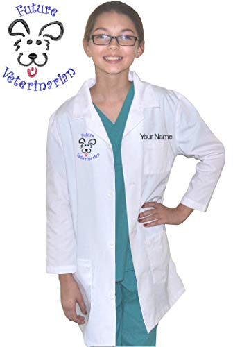 My Little Doc Personalized Kids Veterinarian Lab Coat Dog Puppy Embroidery Design Size 8/10]()