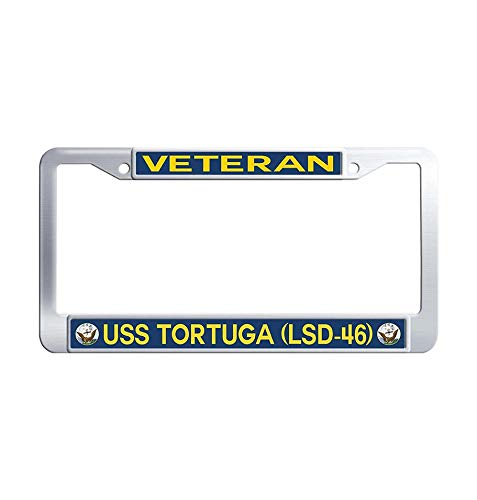 (Hensonata U.S. Navy Military USS Tortuga LSD-46 Veteran License Plate Covers, 2 Holes Licenses Plates Frames, Stainless Steel Metal Car Licenses Plate Covers Holders US Screws)