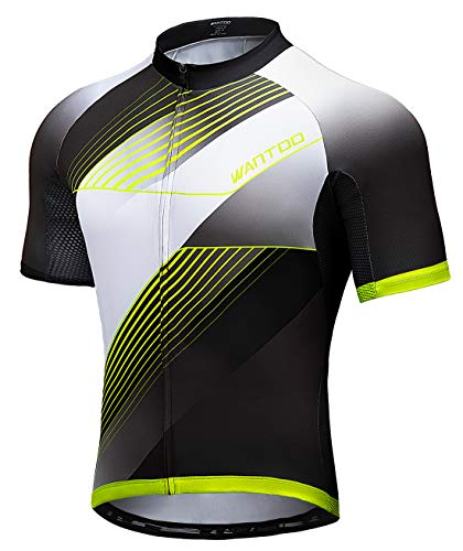 Wantdo Cycling Jersey for Men Short Sleeve Biking Shirt with 3 Rear Pockets