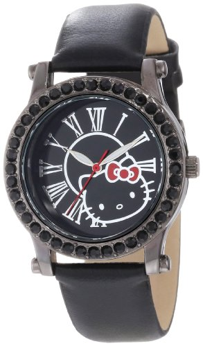 - Hello Kitty Women's H3WL1043BK Black Plated Case Leather Strap Roman Numeral Dial Watch