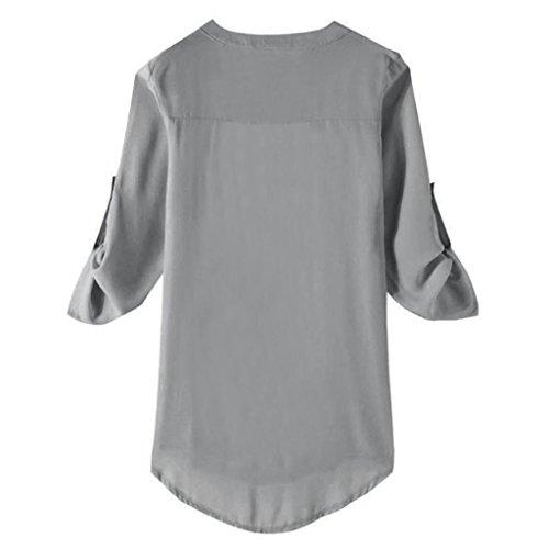 Vest Couleur Automne Chemisier Blouse Tops Lache Unie V de Femme Soie Manches Chic Col Lady Mousseline Shirt Longues Dcontract Gris Casual Loisirs T Occasionnels de wq1APT