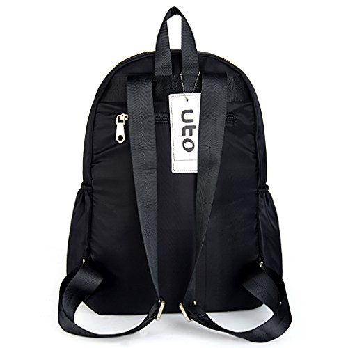 UTO Fashion Backpack Oxford Waterproof Cloth Nylon Rucksack School College Bookbag Shoulder Purse Black by UTO (Image #4)
