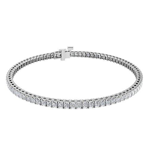 IGI Certified 18K White Gold Prong Set Princess Shape Diamond Tennis Bracelet (4 1/10 Carat) 18k White Gold Diamond Tennis Bracelet