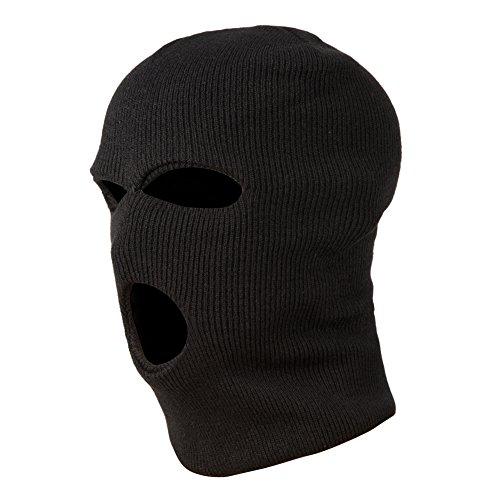 GLOUE Knit Full Face Mask 3-Hole Ski Face Mask Balaclava for Cycling & Sports Outdoor Face Cover, Black …