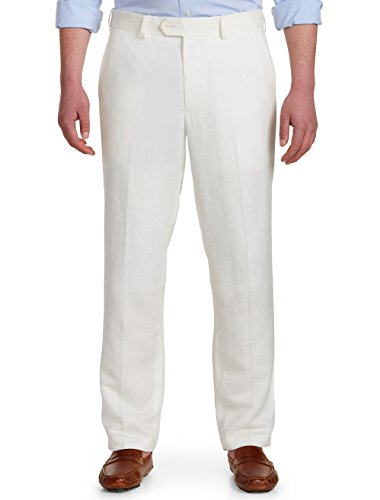 Hill Linen - Oak Hill by DXL Big and Tall Flat-Front Linen-Blend Suit Pants White