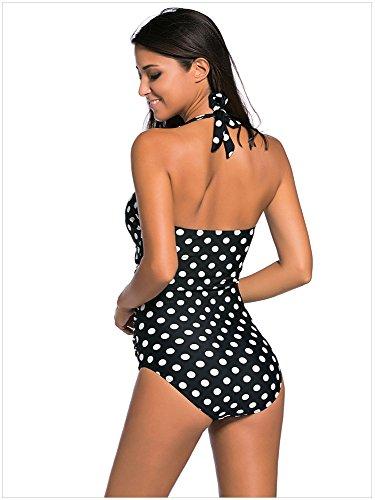 Minetom Monokini Bañador De Una Piezas Mujer Bikini Elegante Cómodo Beach Swimwear Halter Anclas Polka Dot Multicolor Impreso Polka Dot
