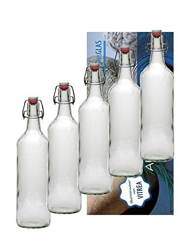 Juego de 12 botellas de cristal con tapón mecánico (1L 1000