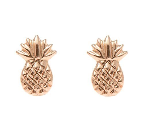 - 14K solid rose gold Hawaiian 7mm pineapple stud post earrings