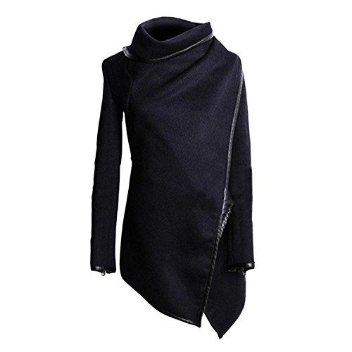 Minetom Fashion Damen Unregelmäßig Slim Warm Lang Mantel Jacke Trench Windschutz Parka Marine Blau moooly