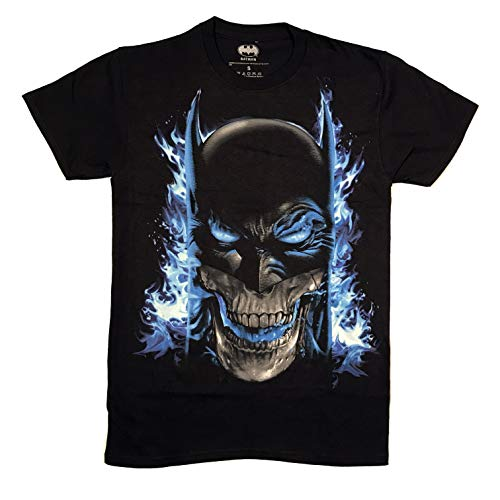 DC Comics Batman Skull Blue Flame T-Shirt, Adult Unisex Sizes S-3XL