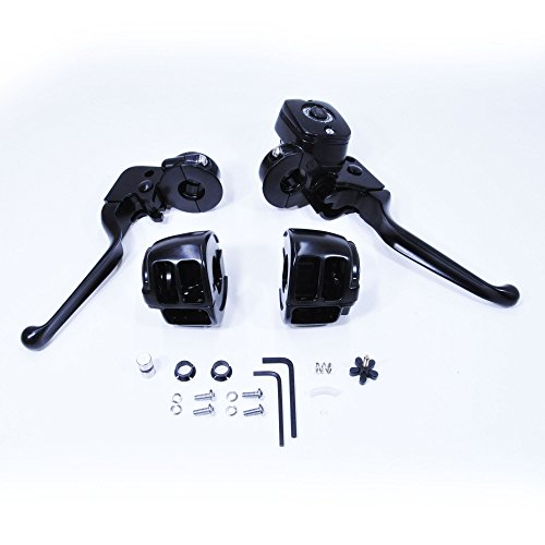 (Black Handlebar Control Kit for 1996-2012 Harley Sportster and Big Twin Models - Comes WITH Switch Housings - Brake Master Cylinder (9/16