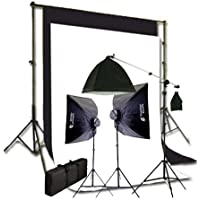 CowboyStudio Complete Photography and Video Stuido 2275 Watt Softbox Continuous Lighting Boom Kit with 10ft x12ft Black White Muslin Backgrounds and Backdrop Support Stands