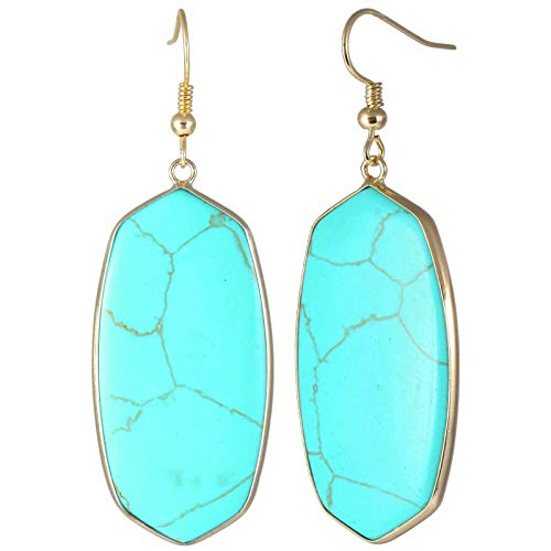 TUMBEELLUWA Crystal Quartz Stone Dangle Hook Earrings Oval Gold Plated, Green Howlite Turquoise ()
