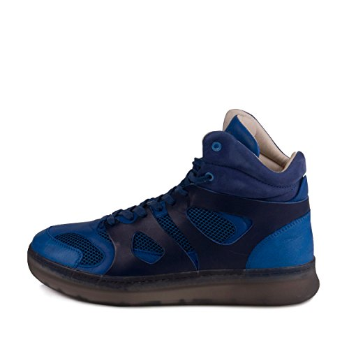 Mens MCQ Move Mid Alexander McQueen Blue Leather Athletic Sneakers