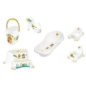 Set of 6 Z Winnie Pooh Bathtub XXL 39.37″ White Bath Seat Potty Toilet Seat Adapter 2 Level Stool Diaper Pail New