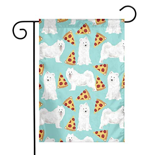 Private Bath Customiz Samoyed Dog Pizza Garden Yard Flag Welcome House Flag Banners for Patio Lawn Outdoor Home -