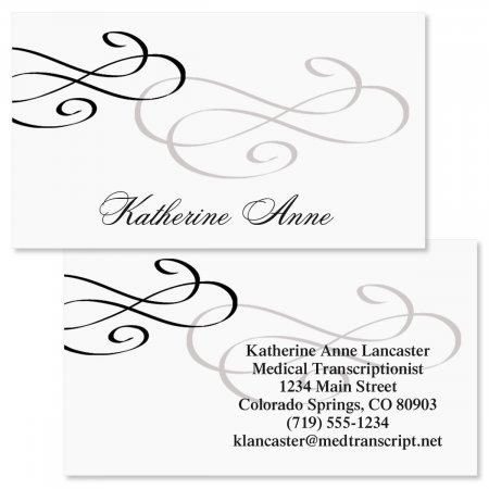 Black Tiffany Double-Sided Business Cards - Set of 250 2'' x 3-1/2'' custom business card design; 80# Cover Stock, Opaque, Matte