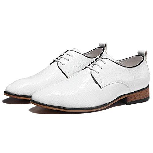 Hommes Occasionnels Travail Lacets Classique En Cuir Multicolore Vintage Oxford Chaussures 6602-2 Blanc