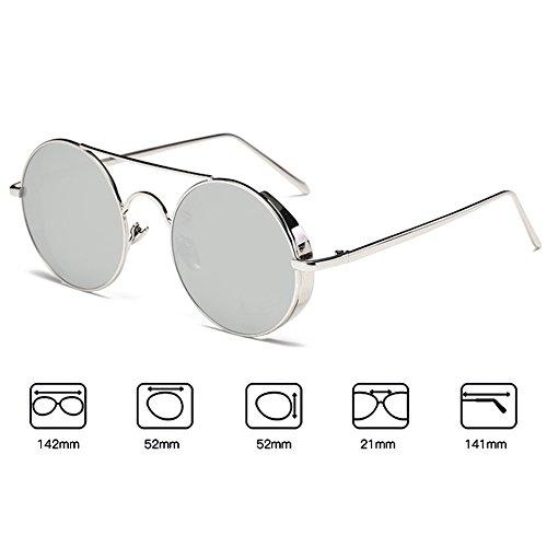 hibote Homme Femme Lunettes de soleil Coating Mirrored Rond Metal Sun Glasses Argent Cadre/Blanc Mercury