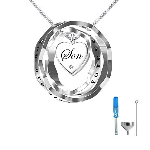 oGoodsunj S925 Sterling Silver Cremation Jewelry Urn Pendant Necklace Ashes Keepsake Necklaces for Women - You are Always in My Heart I Love You Forever (Son)