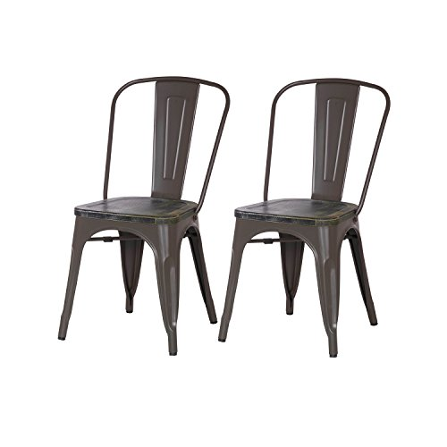 Adeco Metal Stackable Industrial Chic Dining Bistro Cafe Side Chairs, Copper (Set of 2)