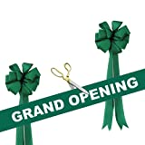 Grand Opening Kit - 10 1/2'' Gold Plated Handles Ceremonial Ribbon Cutting Scissors with 5 Yards of 6'' Green Grand Opening Ribbon White Letters and 2 Green Bows