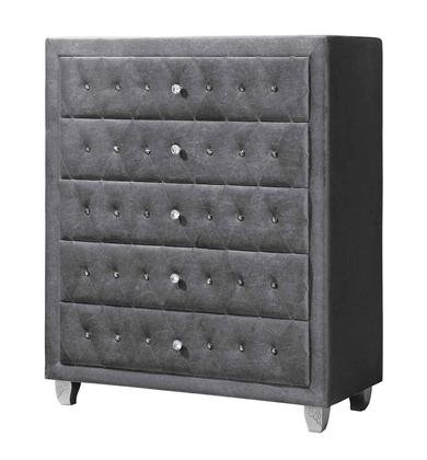 Coaster Deanna Collection 205105 40'' Chest with 5 Drawers Facetted Buttons Carved Wood Legs Felt Lined Top Drawer and Fabric Upholstery in Grey and Metallic by Coaster Home Furnishings