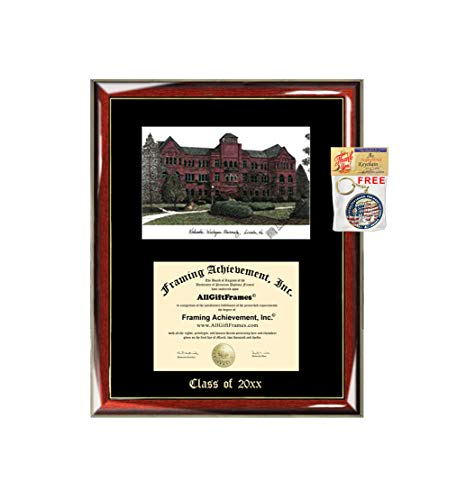- Nebraska Wesleyan University Diploma Frame Emboss Lithograph NWU Degree Framing Glossy Prestige Mahogany with Gold Accents Single Black Mat Graduation University Diploma Frame