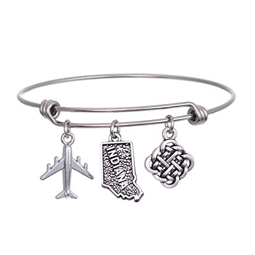 JJTZX State Bangle U.S. Map Charm Expandable Travel Bracelet Long Distance Relationship Gift Best Friends Bracelet (Indiana)