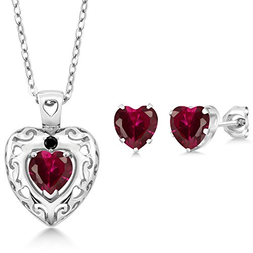 2.90 Ct Red Created Ruby Black Diamond 925 Sterling Silver Pendant Earrings Set