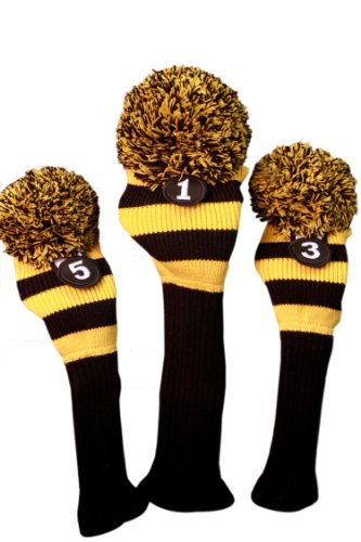 Majek Golf Club Head Covers Black and Yellow Limited Edition Throwback Long Neck Knit Retro Pom Pom Traditional Classic Vintage Old School Ultimate 460cc Driver Fairway Wood Golf Head Cover Stripe Set - Steelers Golf Head Covers
