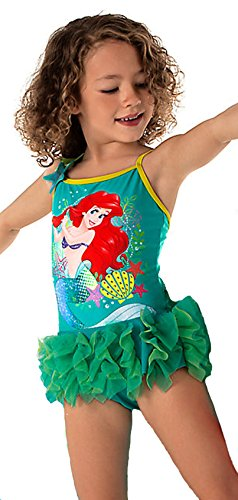 5fed91226ff36 Disney Store Little Girls' Princess Ariel Sequin Accents Deluxe Swimsuit