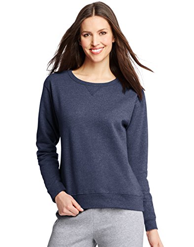 Hanes ComfortSoft EcoSmart Women's Crewneck Sweatshirt_Navy Heather_M