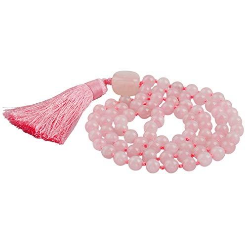 rockcloud Tibetan Mala Tassel Bracelet Necklace Buddhist Prayer Meditation Healing Crystal 8mm, Rose Quartz