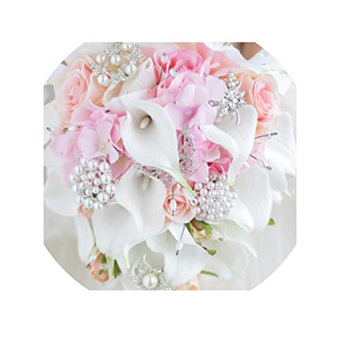 - Waterfall Red Wedding Flowers Bridal Bouquets Artificial Pearls Crystal Wedding Bouquets,Pink