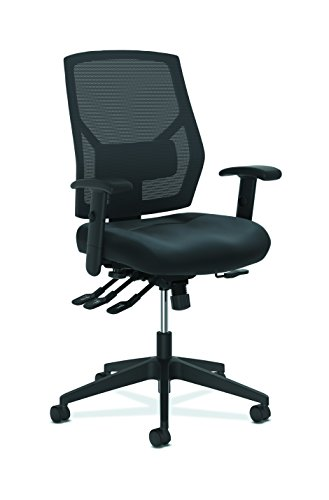 HON Crio High-Back Task Chair - Leather Mesh Back Computer Chair with Asynchronous Control for Office Desk, Black (HVL582) by HON