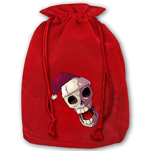 Lao Yang Mai Roaring Skull Christmas XL Large Bulk Merry Christmas Xmas Eve Gift Bags Candy Treat Drawstring for Reusable Bundle Reusable Party Carrying Toys Themed (Yang Bag)