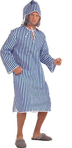 UHC Men's Scrooge Shirt & Hat Christmas Theme Party Adult Nightgown Costume, XL (50-52)