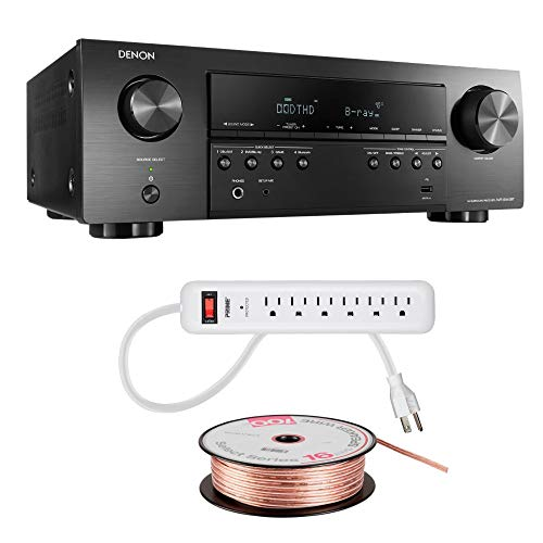 Denon AVR-S540BT Receiver, 5.2 Channel, 4K Ultra HD Audio and Video, Home Theater System, Built-in Bluetooth and USB Port, Com patible with HEOS Link for Wireless Music Streaming 3 Piece Bundle