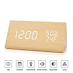 BlaCOG Digital Alarm Clock with 3 Set of Alarms,Desk Clock Display Time Date Temperature,Electronic Clock for Bedroom,Sound Control Function-Bamboo/White