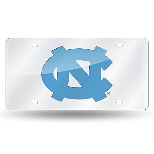 Rico Industries NCAA North Carolina Tar Heels Laser Inlaid Metal License Plate Tag, Silver ()