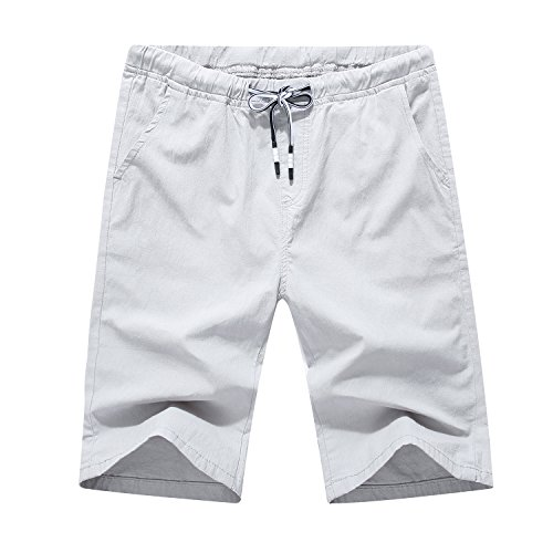 Men's Linen Casual Classic Fit Flat Front Drawstring Cotton Shorts