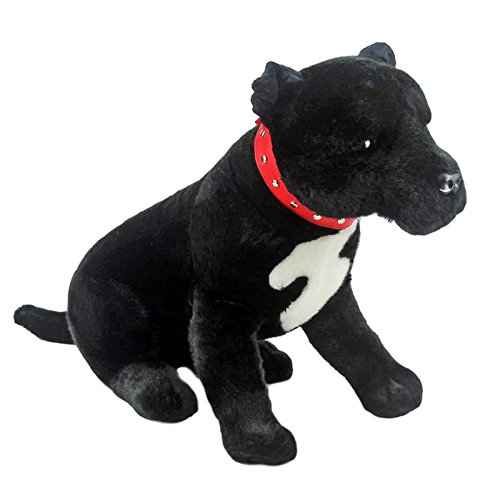 Bocchetta Plush Toys Staffordshire Terrier Sitting Staffy Dog Soft Plush Toy - DJ Medium Black ()