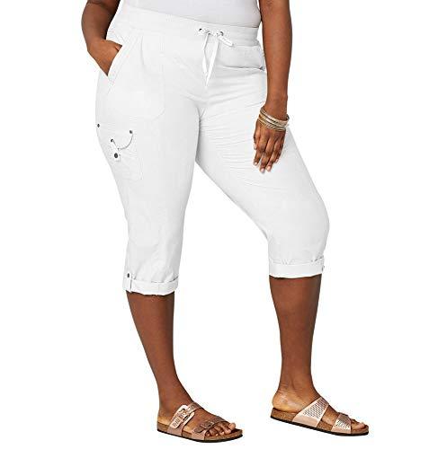 Avenue Women's Poplin Pull-on Capri with Back Flap Pockets, 20 -