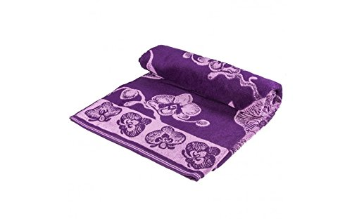 Orchids Terry Bed Sheet, 100% Cotton, Beach Towel , Easy Care, Ideal for Beach Vacations, Poolside, or Yoga Mat Towel , Color violet.